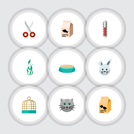 Flat Icon Animal Set Of Bird Prison, Seaweed, Kitty And Other Vector Objects. Also Includes Bird, Nutrient, Thermometer Elements.