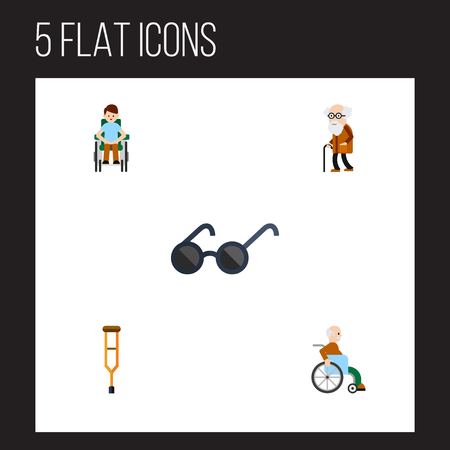 ancestor: Flat Icon Handicapped Set Of Stand, Disabled Person, Ancestor Vector Objects. Also Includes Ancestor, Handicapped, Stand Elements.