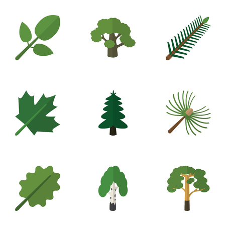 alder: Flat Icon Ecology Set Of Rosemary, Park, Tree And Other Vector Objects. Also Includes Alder, Park, Wood Elements.