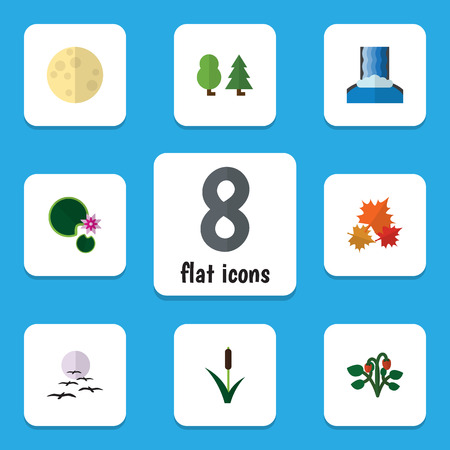cattail: Flat Icon Bio Set Of Berry, Forest, Lotus And Other Vector Objects. Also Includes Water, Grass, Cattail Elements.