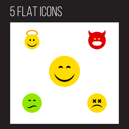enraged: Flat Icon Emoji Set Of Frown, Pouting, Cross-Eyed Face And Other Vector Objects. Also Includes Pouting, Smile, Dizzy Elements. Illustration