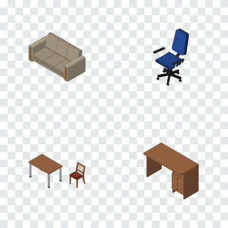 Isometric Furnishing Set Of Couch, Table, Chair And Other Vector Objects. Also Includes Couch, Table, Drawer Elements.