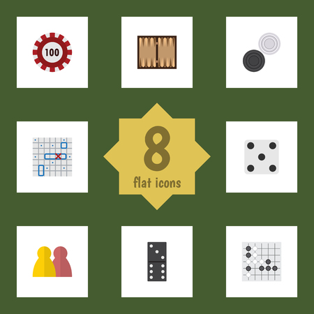 Flat Icon Entertainment Set Of Poker, Dice, Backgammon And Other Vector Objects. Also Includes Casino, Checkers, Table Elements.
