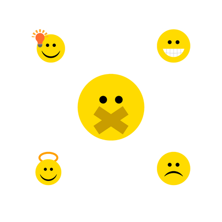 Flat Icon Expression Set Of Sad, Angel, Grin And Other Vector Objects. Also Includes Frown, Laugh, Idea Elements. Illustration