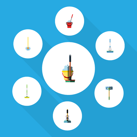 scrubbing: Flat Icon Mop Set Of Besom, Cleaning, Bucket And Other Vector Objects. Also Includes Mop, Broom, Sweep Elements.