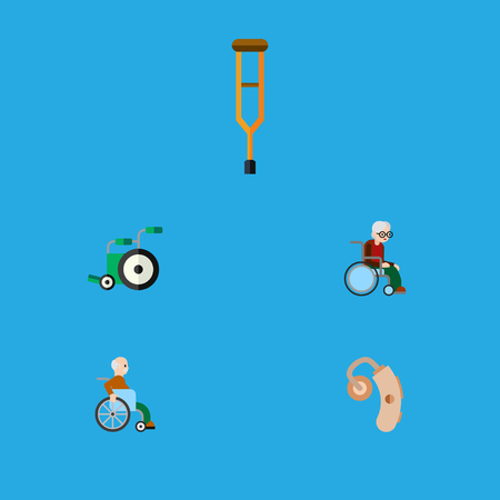 impaired: Flat Icon Cripple Set Of Equipment, Handicapped Man, Stand Vector Objects. Also Includes Hearing, Equipment, Aid Elements.