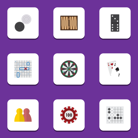 backgammon: Flat Icon Games Set Of Gomoku, Dice, Arrow And Other Vector Objects. Also Includes Alphago, Cards, Dice Elements.