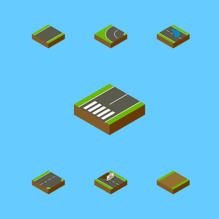 Isometric Road Set Of Repairs, Footpath, Down And Other Vector Objects. Also Includes Asphalt, Footpath, Under Elements. Illustration