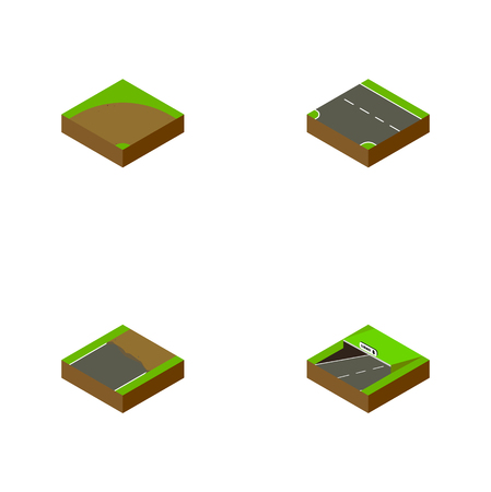 Isometric Road Set Of Subway, Sand, Downward Vector Objects. Also Includes Subway, Incomplete, Downward Elements.