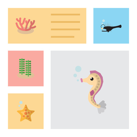 Flat Icon Marine Set Of Hippocampus, Fish, Sea Star And Other Vector Objects. Also Includes Spirulina, Algae, Coral Elements.