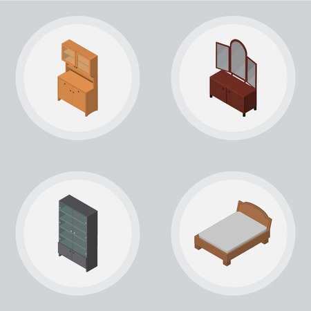 bedstead: Isometric Furniture Set Of Drawer, Sideboard, Cupboard And Other Vector Objects. Also Includes Bed, Sideboard, Furniture Elements.