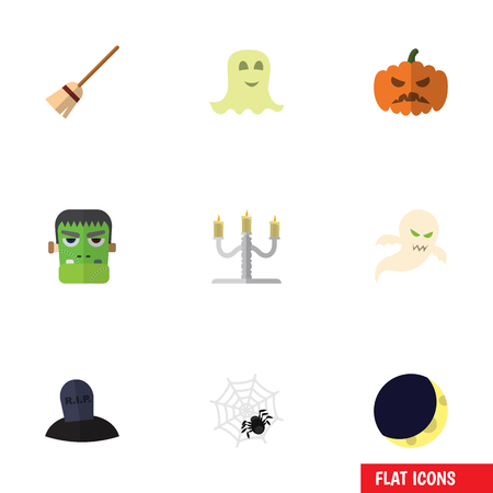 Flat Icon Festival Set Of Spinner, Spirit, Candlestick Vector Objects. Also Includes Arachnid, Rip, Candle Elements.