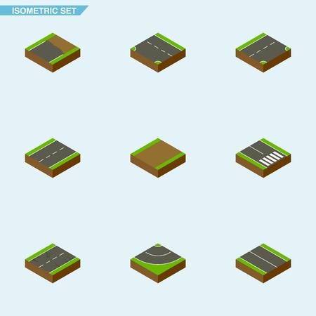 Camino isométrico conjunto de entrada, grietas, abajo y otros objetos vectoriales. También incluye Highway, Flat, Incomplete Elements.
