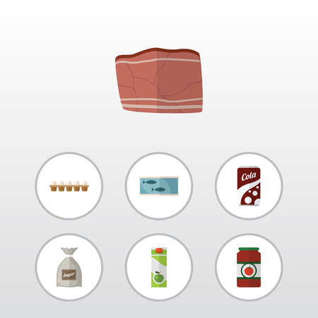 aluminum: Flat Icon Eating Set Of Beef, Eggshell Box, Sack And Other Vector Objects. Also Includes Eggshell, Canned, Tuna Elements.