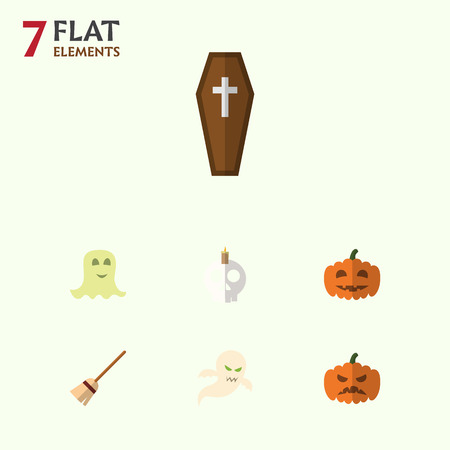 Flat Icon Halloween Set Of Broom, Gourd, Ghost And Other Vector Objects. Also Includes Spirit, Halloween, Gourd Elements. Illustration