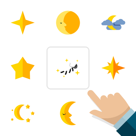 Flat Icon Midnight Set Of Moon, Asterisk, Star And Other Vector Objects. Also Includes Cloud, Moon, Midnight Elements.