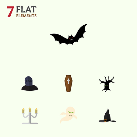Flat Icon Festival Set Of Candlestick, Witch Cap, Casket Vector Objects. Also Includes Candle, Terrible, Wizard Elements.