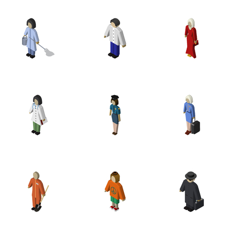 Isometric People Set Of Hostess, Lady, Female And Other Vector Objects. Also Includes Cleaner, Lady, Male Elements. Illustration