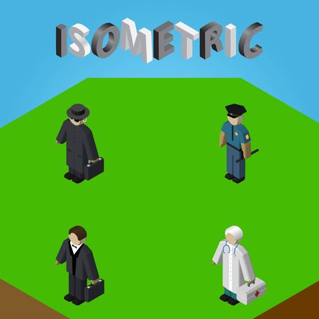 Isometric Person Set Of Medic, Detective, Officer And Other Vector Objects. Also Includes Police, Medic, Investor Elements.