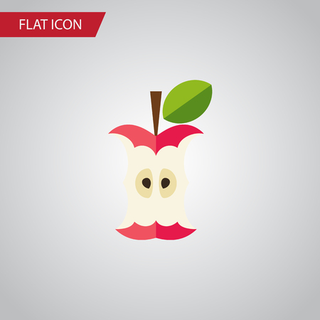 Isolated Eaten Flat Icon. Bitten Vector Element Can Be Used For Bitten, Eaten, Apple Design Concept.