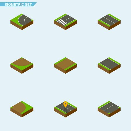 Isometric Way Set Of Footpassenger, Flat, Rotation And Other Vector Objects. Also Includes Navigation, Footpassenger, Sand Elements.