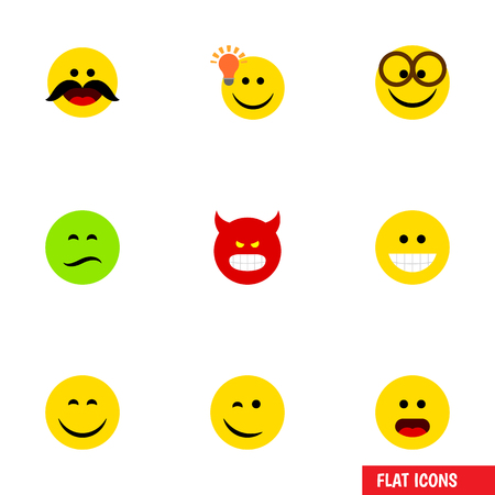 quandary: Flat Icon Gesture Set Of Wonder, Cheerful, Have An Good Opinion And Other Vector Objects. Also Includes Whiskers, Wonder, Pouting Elements.