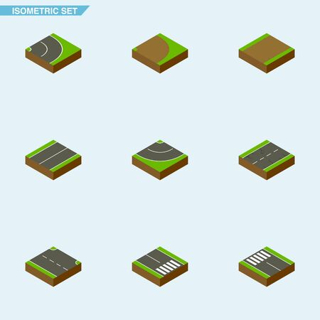 the roadside: Isometric Road Set Of Footpath, Road, Plane And Other Vector Objects. Also Includes Rotation, Bitumen, Strip Elements.