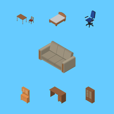arredamento classico: Isometric Furniture Set Of Bedstead, Couch, Chair And Other Vector Objects. Also Includes Wardrobe, Couch, Sofa Elements.