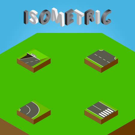 Isometric Way Set Of Rightward, Subway, Pedestrian And Other Vector Objects. Also Includes Road, Bitumen, Underground Elements.