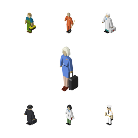 Isometric Human Set Of Doctor, Plumber, Medic And Other Vector Objects. Also Includes Detective, Police, Worker Elements.