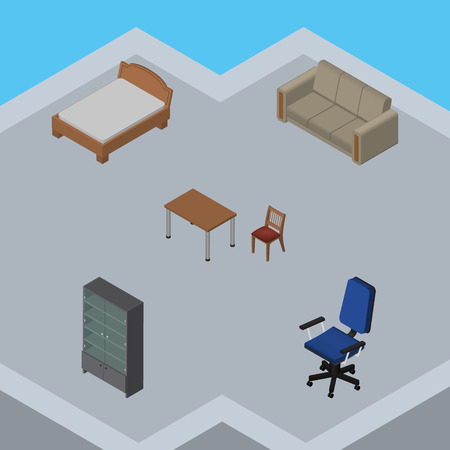 Isometric Design Set Of Sideboard, Couch, Chair And Other Vector Objects. Also Includes Office, Cupboard, Cabinet Elements.