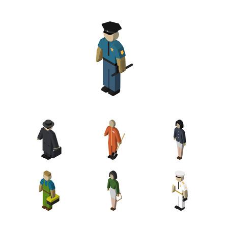 等尺性の人は、探偵、船乗り、配管および他のベクトル オブジェクトのセット。労働者、船員、女の子要素も含まれます。  イラスト・ベクター素材