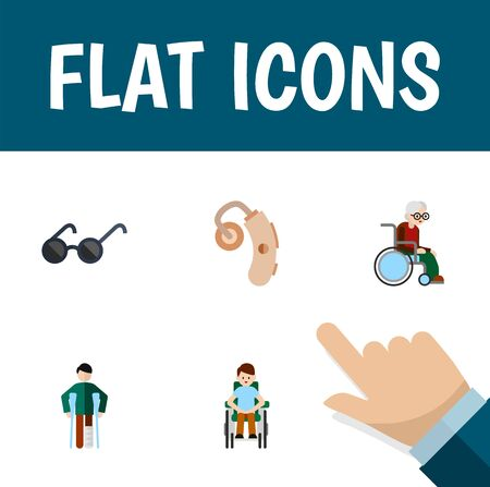 physical impairment: Flat Icon Handicapped Set Of Wheelchair, Audiology, Spectacles And Other Vector Objects. Also Includes Spectacles, Disabled, Hearing Elements. Illustration