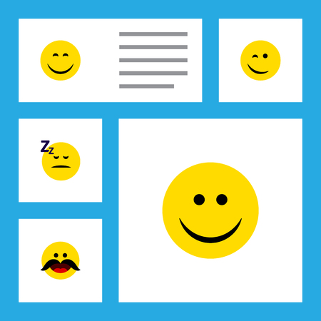 Flat Icon Emoji Set Of Cheerful, Smile, Asleep And Other Vector Objects. Also Includes Cheerful, Happy, Sleeping Elements.