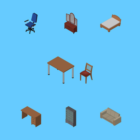 Isometric Furnishing Set Of Chair, Table, Sideboard And Other Vector Objects. Also Includes Armchair, Drawer, Sofa Elements.