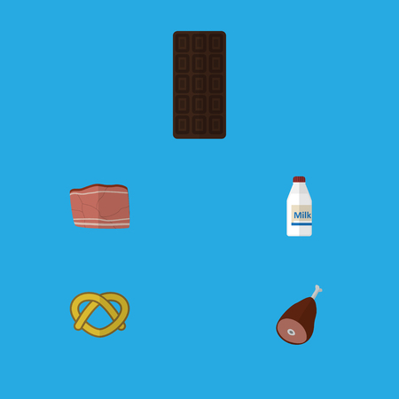 bretzel: Flat Icon Meal Set Of Bottle, Meat, Beef And Other Vector Objects. Also Includes Chocolate, Breakfast, Pretzel Elements.