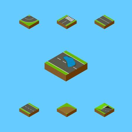 Isometric Road Set Of Plash, Road, Flat And Other Vector Objects. Also Includes Asphalt, Lane, Sand Elements.