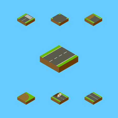 Isometric Way Set Of Crossroad, Repairs, Incomplete And Other Vector Objects. Also Includes Single, Intersection, Crossroad Elements. Illustration