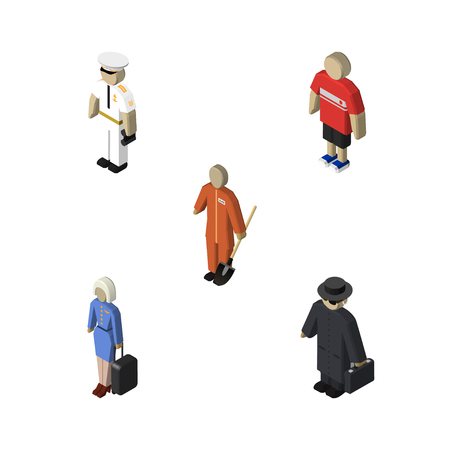 Isometric People Set Of Seaman, Cleaner, Detective And Other Vector Objects. Also Includes Hostess, Seaman, Lady Elements.  イラスト・ベクター素材