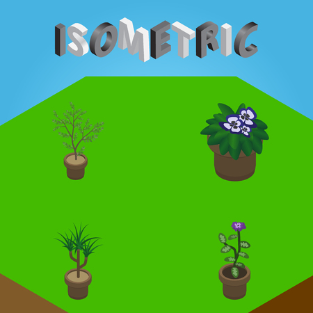 Isometric Plant Set Of Fern, Flower, Houseplant And Other Vector Objects. Also Includes Plant, Houseplant, Pot Elements.