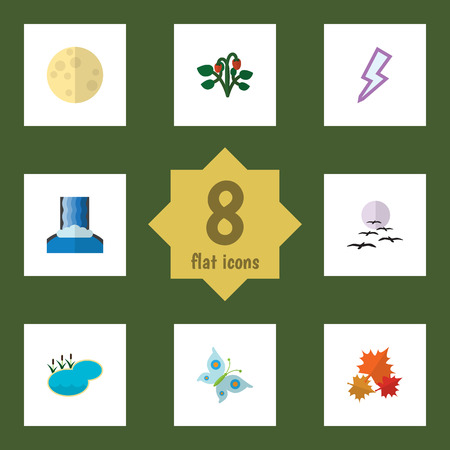 Flat Icon Natural Set Of Lightning, Cascade, Berry And Other Vector Objects. Also Includes Moth, Maple, Monarch Elements. Illustration