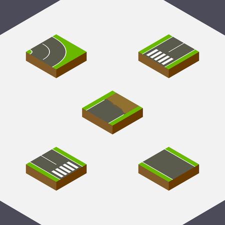 等尺性方法の歩行者、アスファルト、Footpassenger と他のベクトル オブジェクトを設定します。歩行者の道路、アスファルト、要素も含まれています