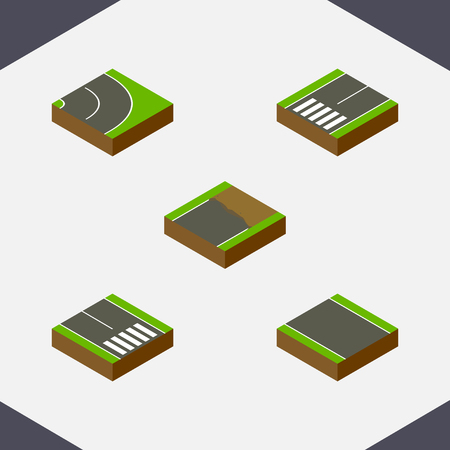unilateral: Isometric Way Set Of Pedestrian, Asphalt, Footpassenger And Other Vector Objects. Also Includes Road, Bitumen, Pedestrian Elements. Illustration