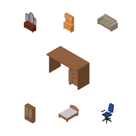 Isometric Furniture Set Of Table, Drawer, Office And Other Vector Objects. Also Includes Wardrobe, Couch, Bedstead Elements.
