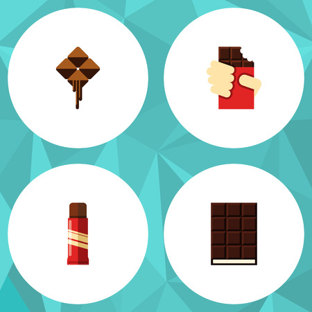 calorie: Flat Icon Sweet Set Of Delicious, Sweet, Shaped Box And Other Vector Objects. Also Includes Shaped, Confection, Wrapper Elements.