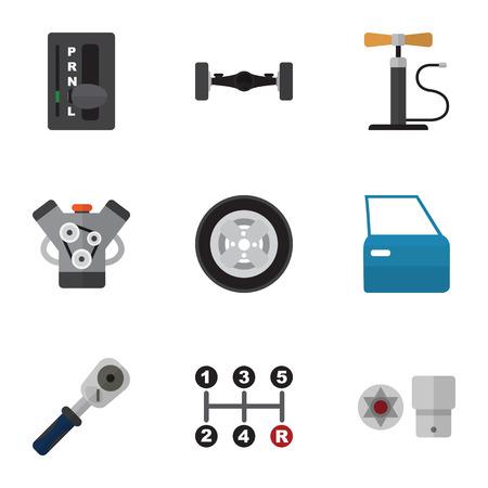 Flache Ikone Auto-Set Von Automatikgetriebe, Motor, Federung Und ...