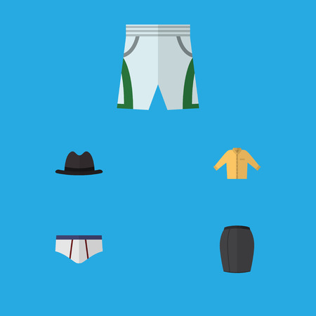 Flat Icon Clothes Set Of Trunks Cloth, Underclothes, Panama And Other Vector Objects. Also Includes Cloth, Apparel, Shirt Elements.