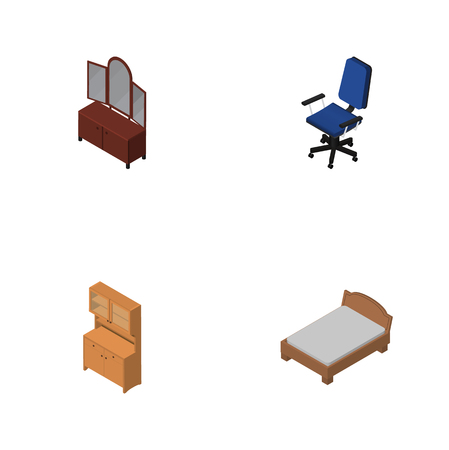 Isometric Furnishing Set Of Office, Cupboard, Drawer And Other Vector Objects. Also Includes Closet, Armchair, Sideboard Elements. Illustration