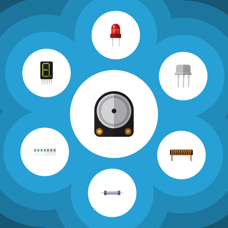 Flat Icon Technology Set Of Bobbin, Hdd, Resist And Other Vector Objects. Also Includes Calculator, Recipient, Random Elements.