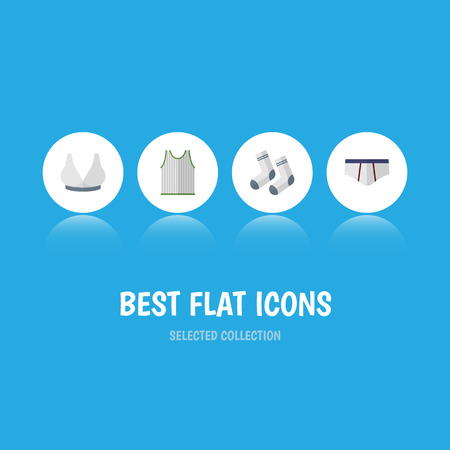 Flat Icon Garment Set Of Underclothes, Brasserie, Singlet And Other Vector Objects. Also Includes Briefs, Breast, Singlet Elements. Illustration